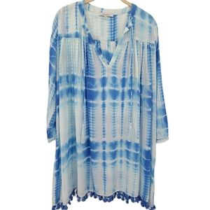 Olivaceous Blue & White Tie-Dye Tunic Cover-Up